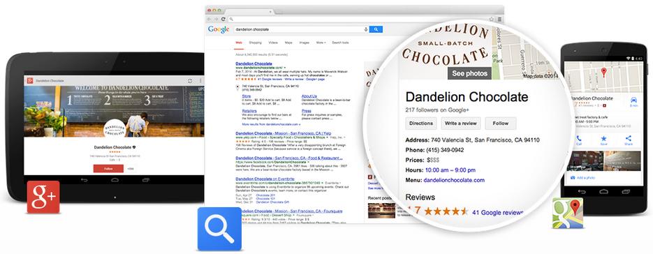 google my business google plus google places google search